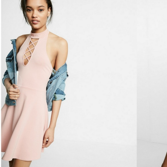 Express Dresses & Skirts - Lace Up Mock Neck Fit and Flare Dress